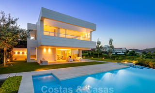 First line golf villa in elegant modern style with panoramic golf and sea views for sale in Los Flamingos Golf in Marbella - Benahavis 26107