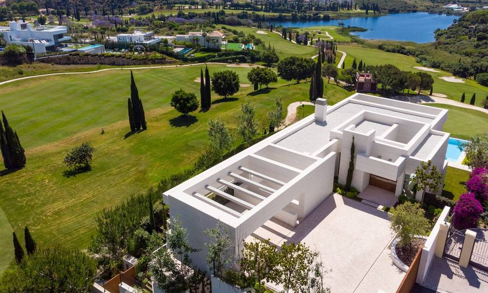 First line golf villa in elegant modern style with panoramic golf and sea views for sale in Los Flamingos Golf in Marbella - Benahavis 26120