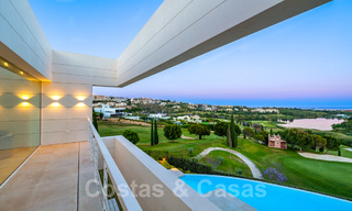 First line golf villa in elegant modern style with panoramic golf and sea views for sale in Los Flamingos Golf in Marbella - Benahavis 26123
