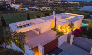 First line golf villa in elegant modern style with panoramic golf and sea views for sale in Los Flamingos Golf in Marbella - Benahavis 26125