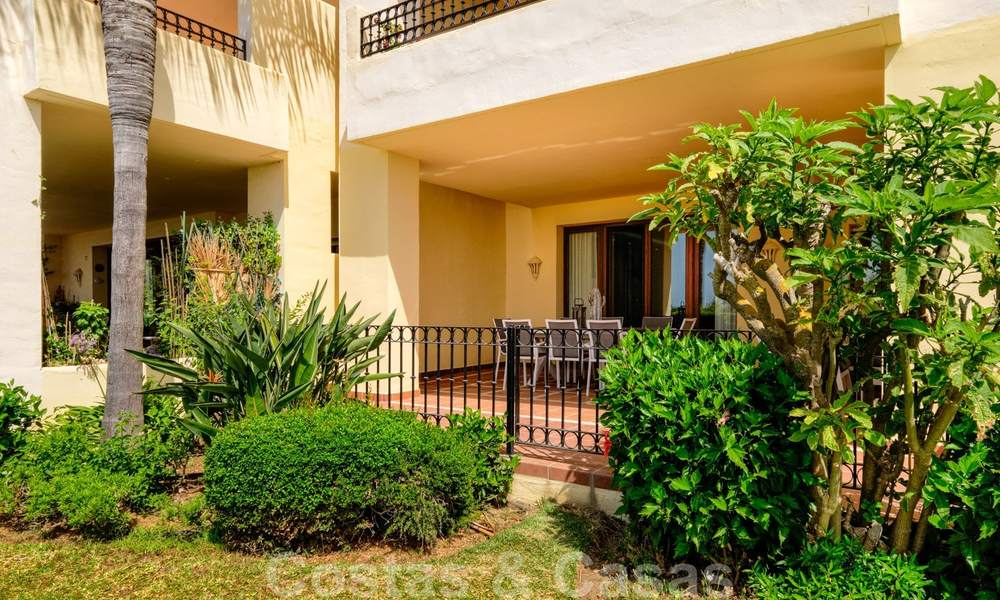 Luxury apartment for sale with open garden and sea views in a first line beach complex, on the New Golden Mile between Marbella and Estepona 26838