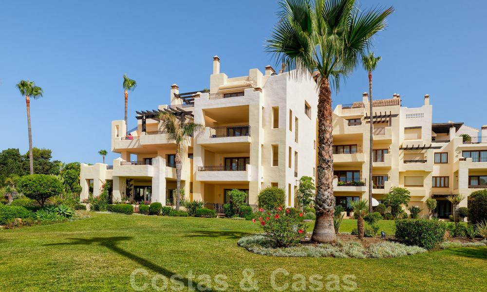 Luxury apartment for sale with open garden and sea views in a first line beach complex, on the New Golden Mile between Marbella and Estepona 26841