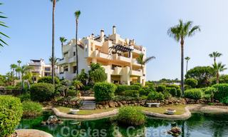 Luxury apartment for sale with open garden and sea views in a first line beach complex, on the New Golden Mile between Marbella and Estepona 26845
