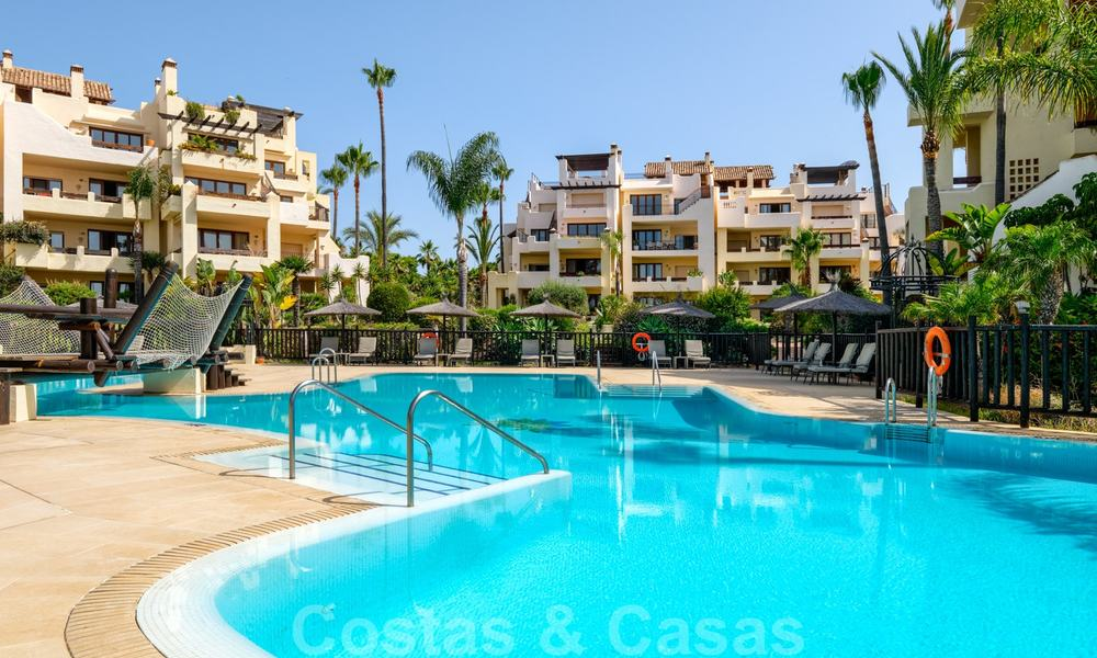 Luxury apartment for sale with open garden and sea views in a first line beach complex, on the New Golden Mile between Marbella and Estepona 26847