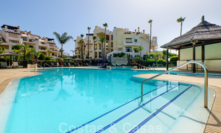 Luxury apartment for sale with open garden and sea views in a first line beach complex, on the New Golden Mile between Marbella and Estepona 26849