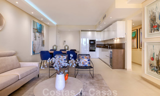 Luxury apartment for sale with open garden and sea views in a first line beach complex, on the New Golden Mile between Marbella and Estepona 26852