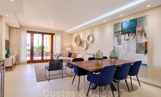 Luxury apartment for sale with open garden and sea views in a first line beach complex, on the New Golden Mile between Marbella and Estepona 26855