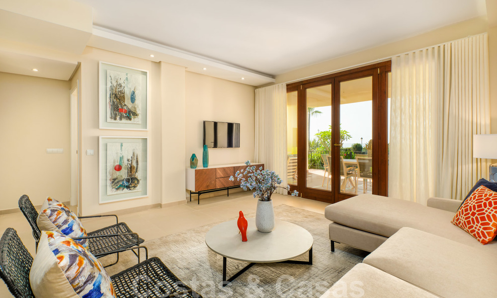 Luxury apartment for sale with open garden and sea views in a first line beach complex, on the New Golden Mile between Marbella and Estepona 26856