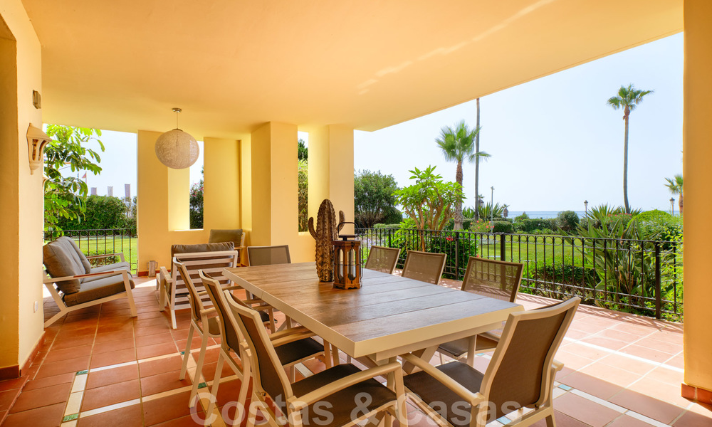 Luxury apartment for sale with open garden and sea views in a first line beach complex, on the New Golden Mile between Marbella and Estepona 26870