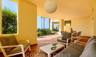 Luxury apartment for sale with open garden and sea views in a first line beach complex, on the New Golden Mile between Marbella and Estepona 26872