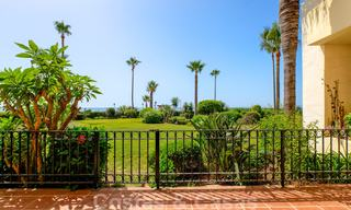 Luxury apartment for sale with open garden and sea views in a first line beach complex, on the New Golden Mile between Marbella and Estepona 26873