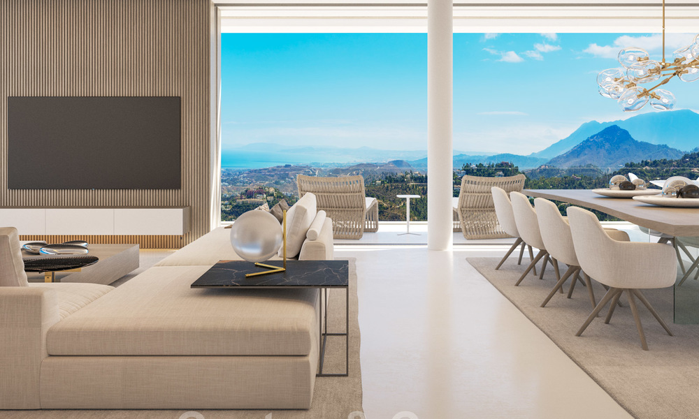 New modern luxury villas for sale with spectacular views of the golf, the lake and the Mediterranean to Africa, in a gated golf resort in Benahavis - Marbella 27926