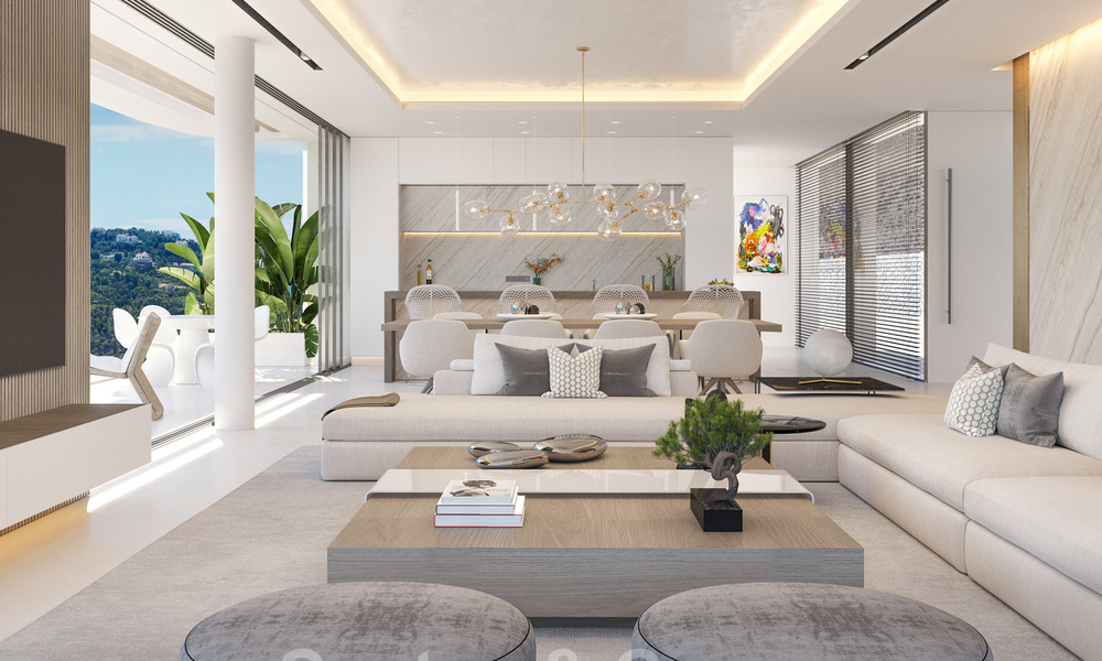 New modern luxury villas for sale with spectacular views of the golf, the lake and the Mediterranean to Africa, in a gated golf resort in Benahavis - Marbella 27929
