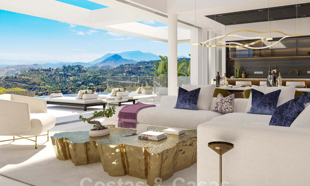 New modern luxury villas for sale with spectacular views of the golf, the lake and the Mediterranean to Africa, in a gated golf resort in Benahavis - Marbella 27932