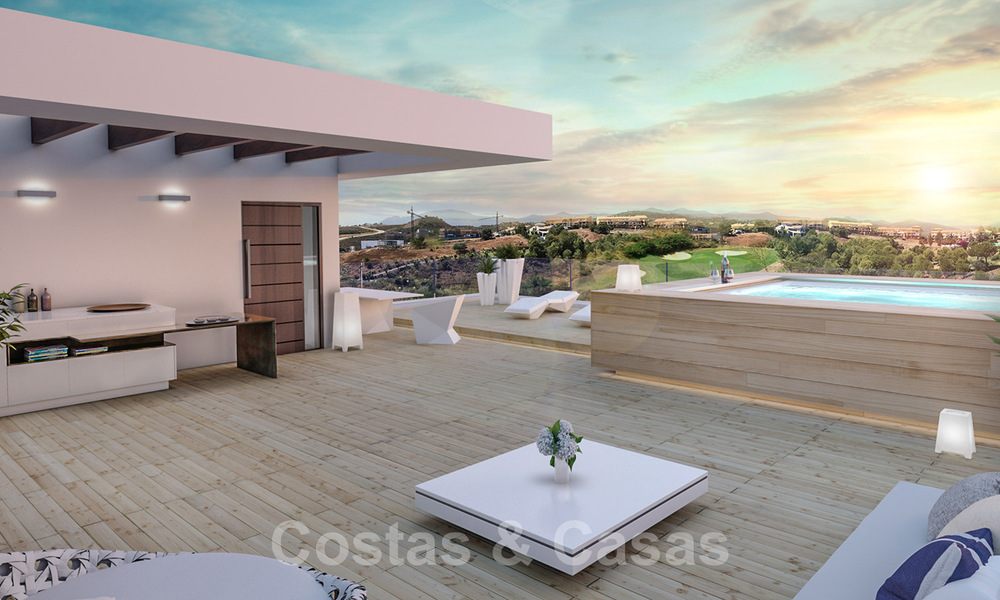 Modern new build villa for sale, directly on the golf course with panoramic golf, mountain and sea views in Estepona 30868