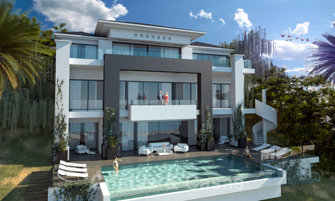 Contemporary new build villa for sale with stunning open sea views in Marbella, close to the beaches and centre 32147