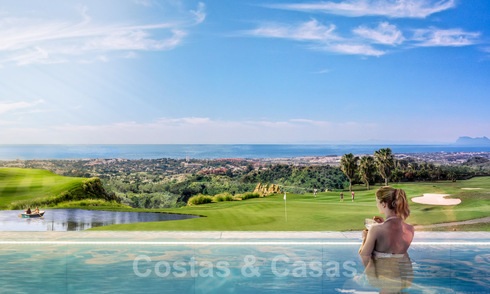 Building plots for turnkey, modern villas with spectacular views of the golf course, the lake, the mountains and the sea to Africa, in a gated nature and golf resort for sale in Benahavis - Marbella 32420
