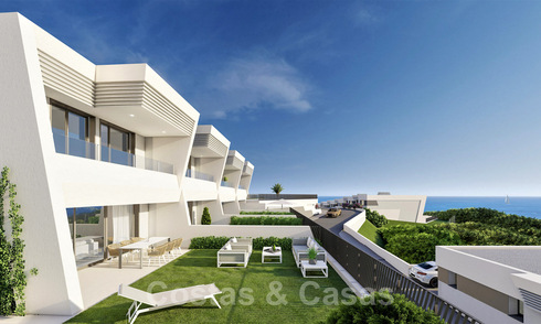 Stunning new avant-garde design terrace houses with sea views for sale in a prestigious golf resort in Mijas Costa, Costa del Sol 32658