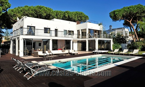 Modern contemporary style First line beach luxury villa for sale in Marbella 5413